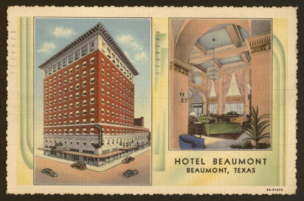 Vintage postcard with Hotel Beaumont